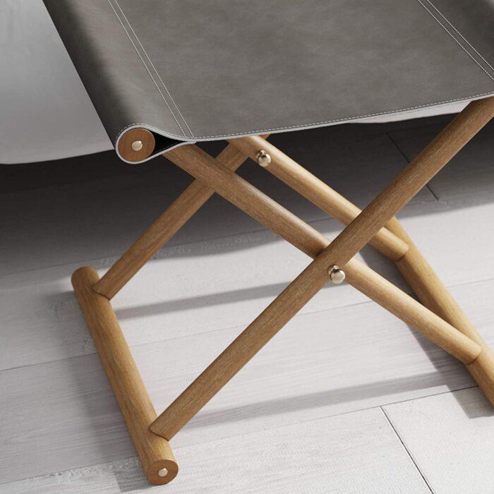 grey leather folding stool