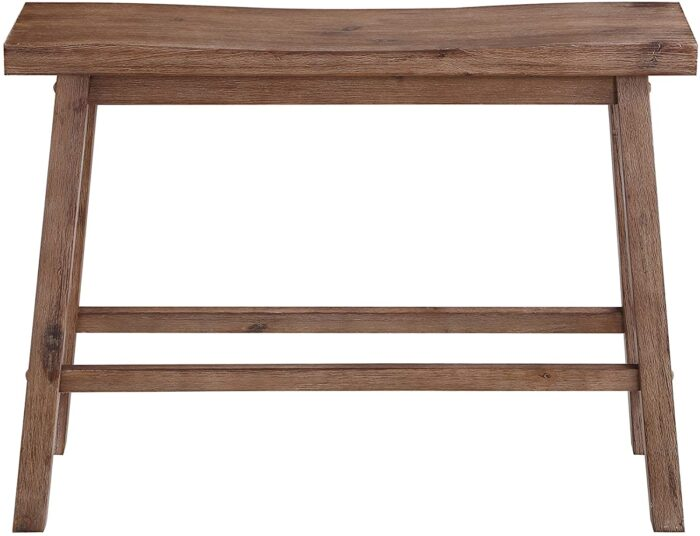 small wood saddle bench