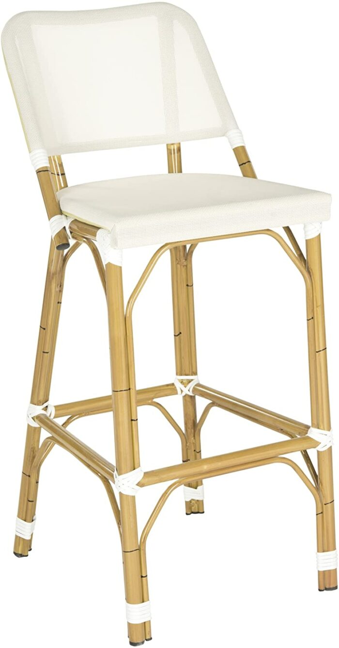white and rattan outdoor barstool