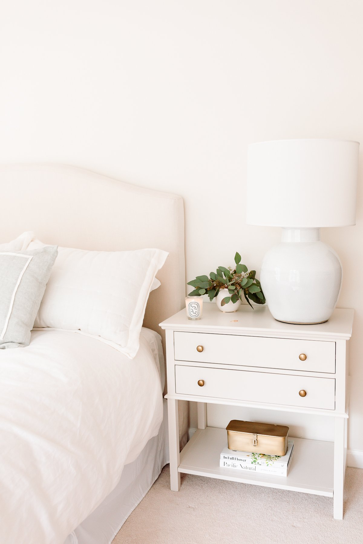 nightstand next to bed