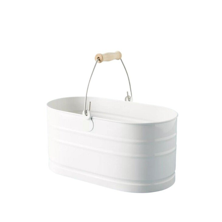 white cleaning caddy with wood handle