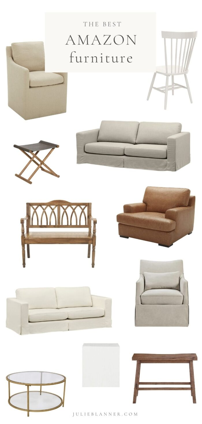 """A white graphic with Amazon furniture arrangement throughout, text at the top reads """"the best Amazon furniture"""""""
