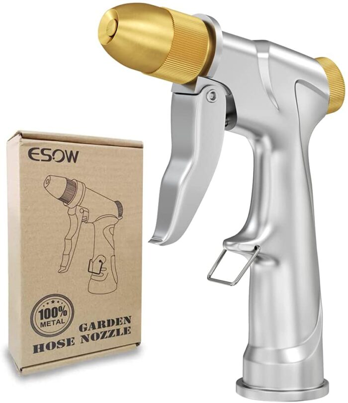 A hose nozzle gardening tool in brass and stainless steel