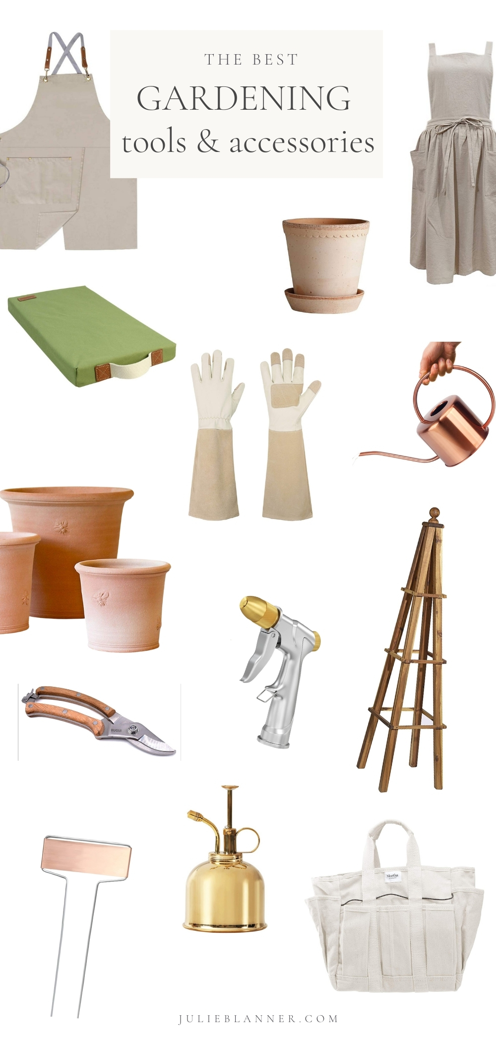 gardening tools and accessories graphic displaying items with text overlay