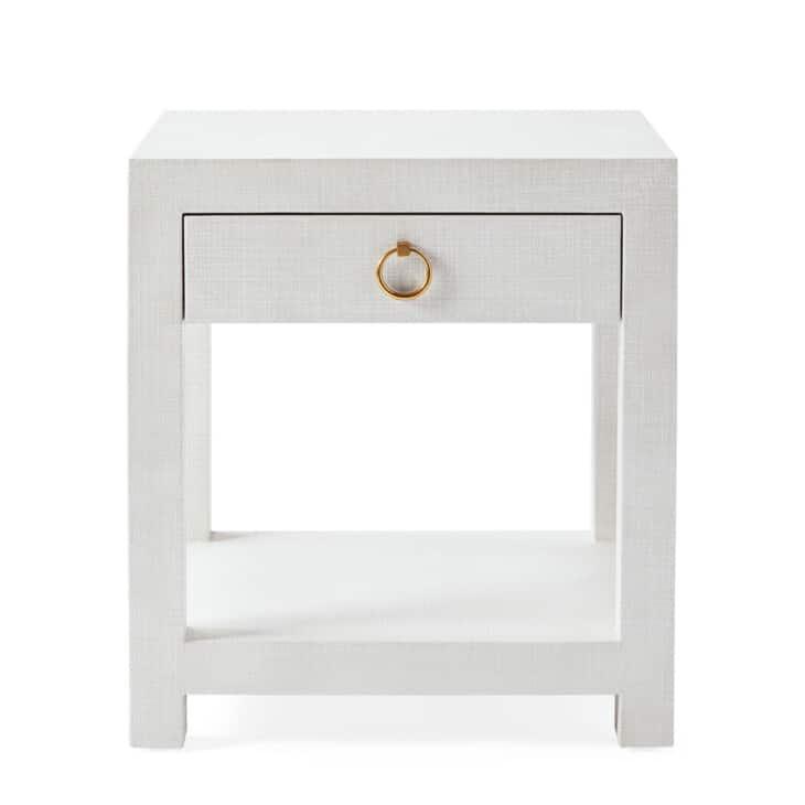 soft white linen nightstand