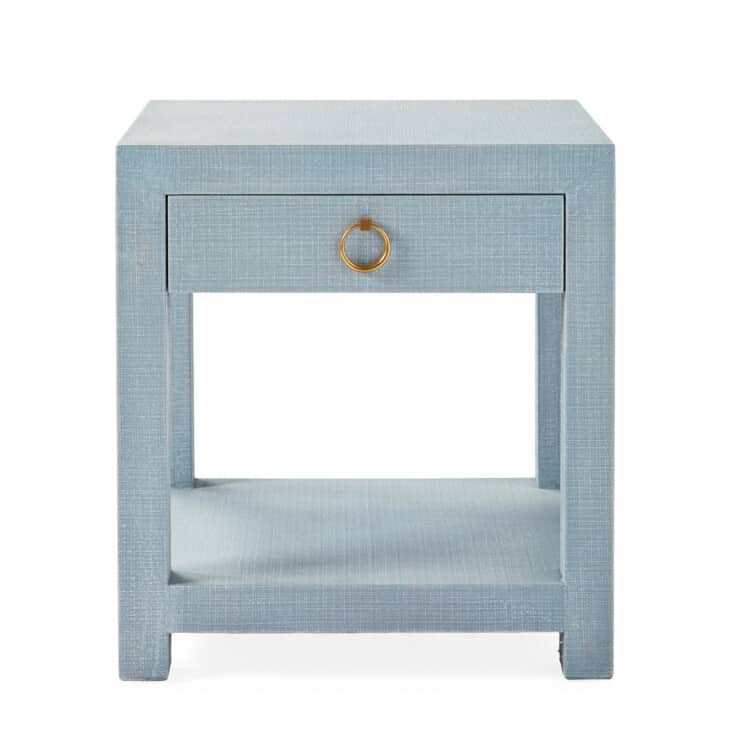 blue linen nightstand with pull