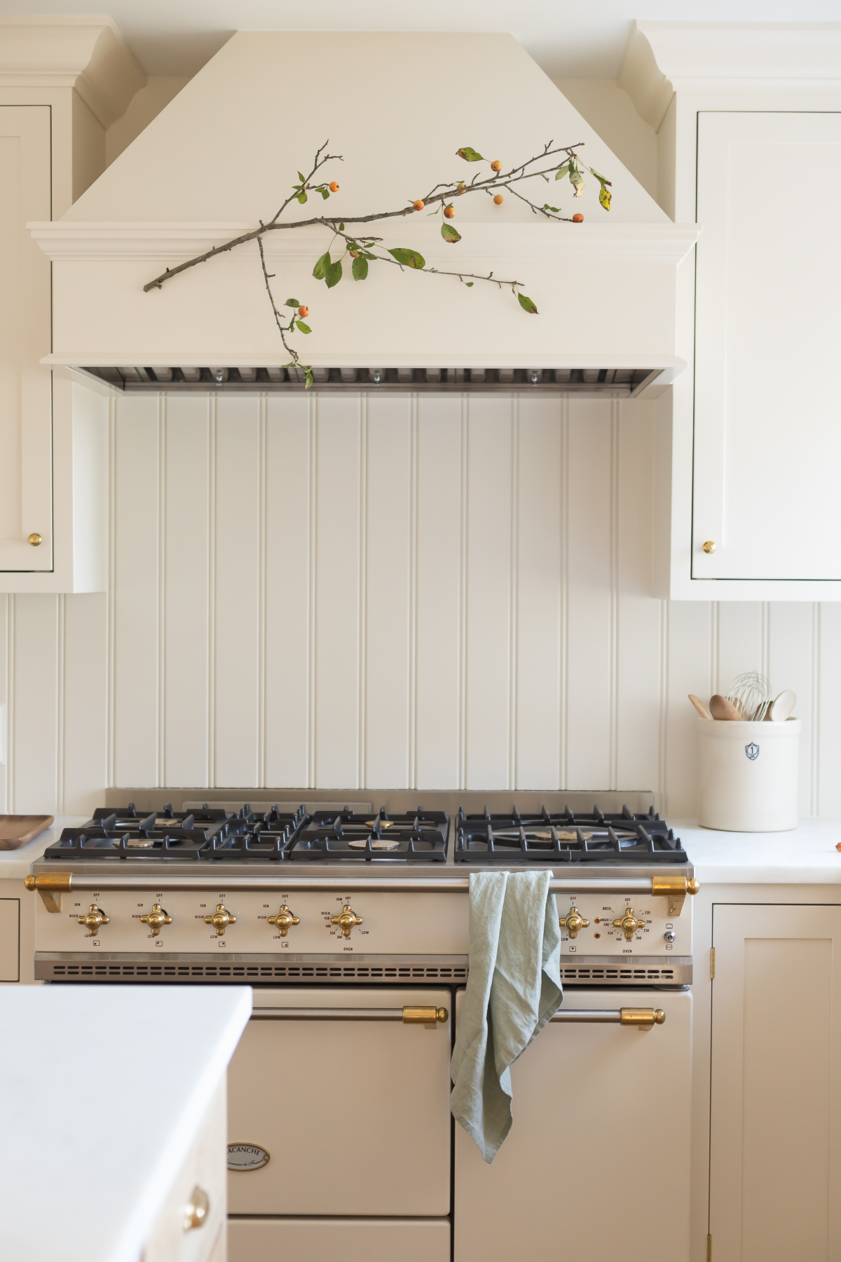 fall branch hanging over range in kitchen