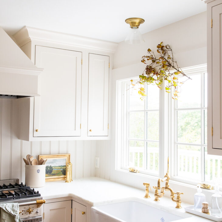 kitchen with fall branch hanging over the window