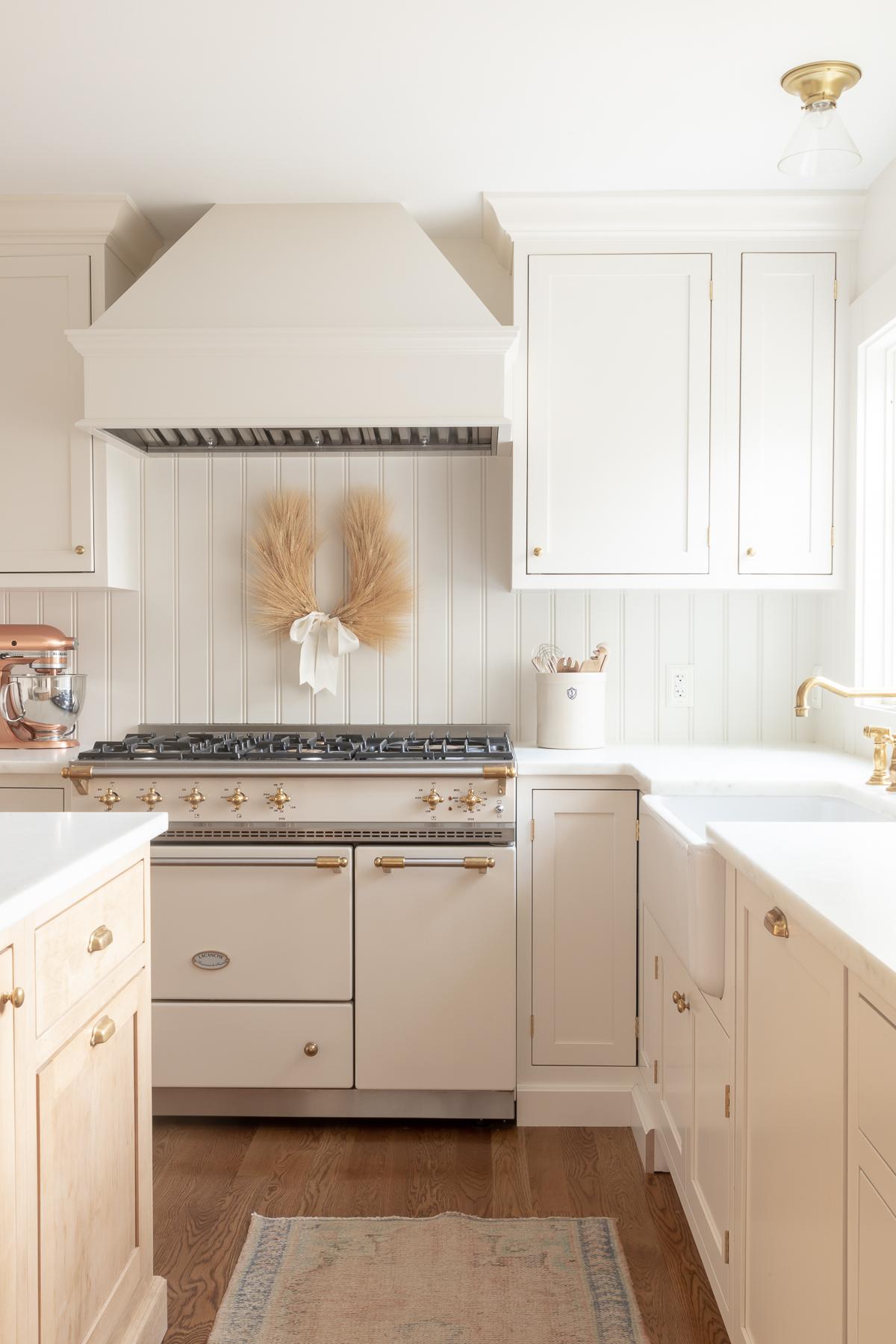 kitchen with wheat wreath