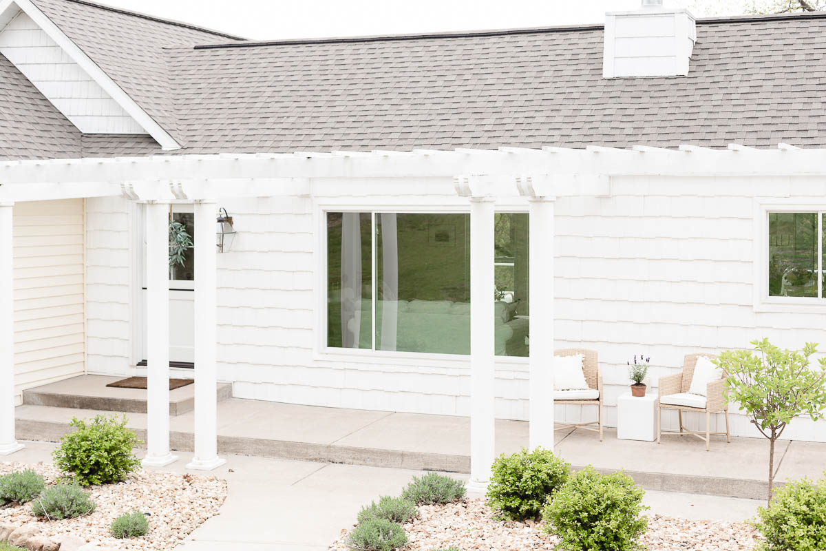 white home with landscaping
