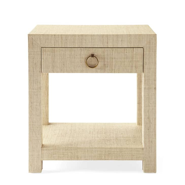 natural raffia nightstand with brass pull