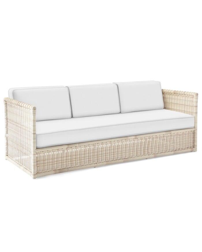 whitewashed wicker sofa
