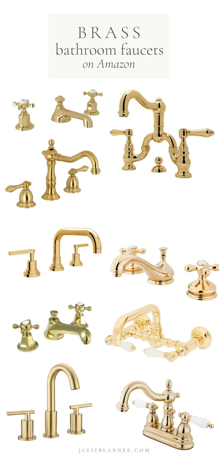 A graphic with brass bathroom faucet images on a white background.